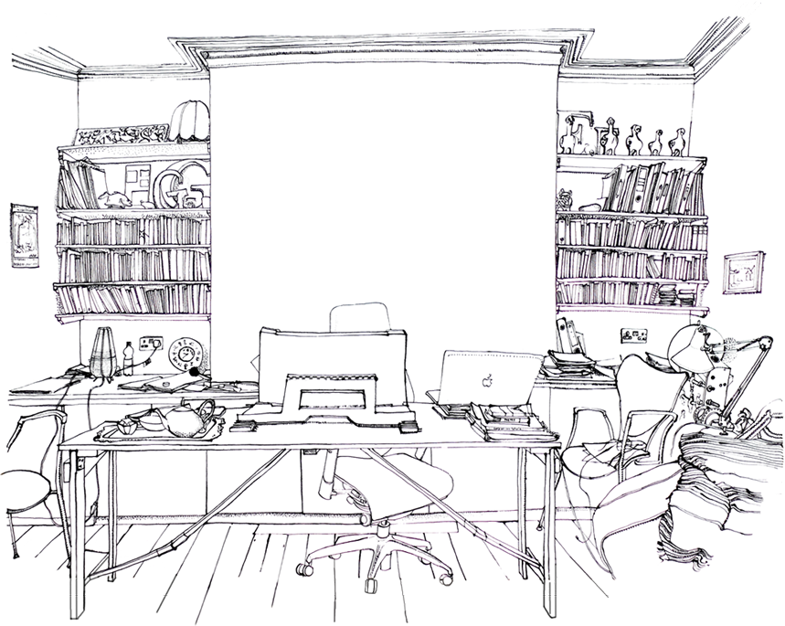 An illustration of Kate's office